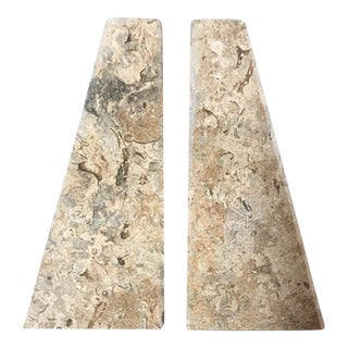 Beige Marble Architectural Bookends - A Pair For Sale