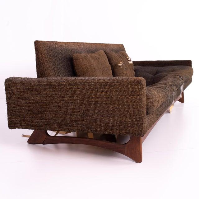 Mid Century Adrian Pearsall Sled Base Walnut Floating 4 Seater Sofa