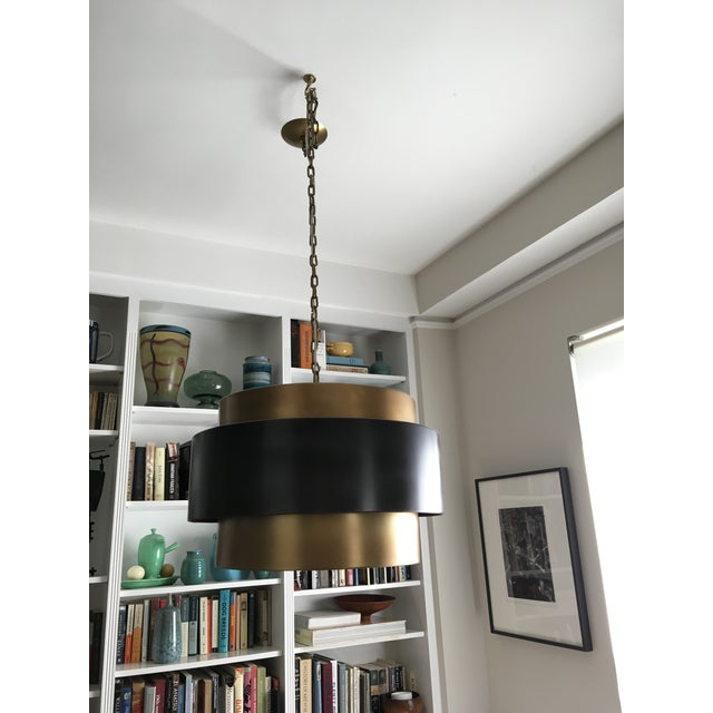 Arteriors Nolan Black Brass Pendant Light Fixture - Image 3 of 3