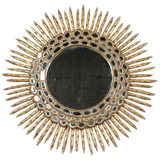 Antique Spanish Giltwood Sunburst Mirror For Sale