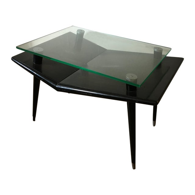 Mid-Century Modern Black Wood & Glass Side Table - Image 1 of 10