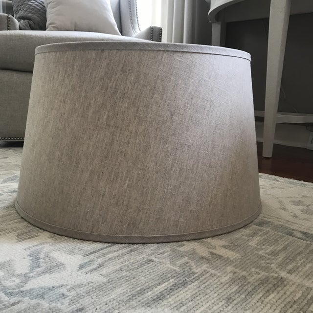 "Beautiful lampshade covered in a natural linen fabric. This shade is extra extra large measuring 22"" in diameter at the..."