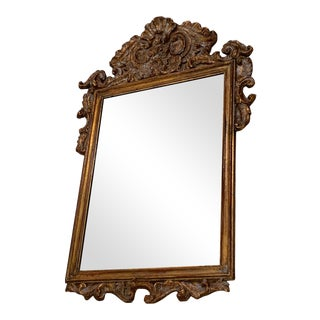 19th Century Italian Baroque Hand Carved Gilt Mirror For Sale