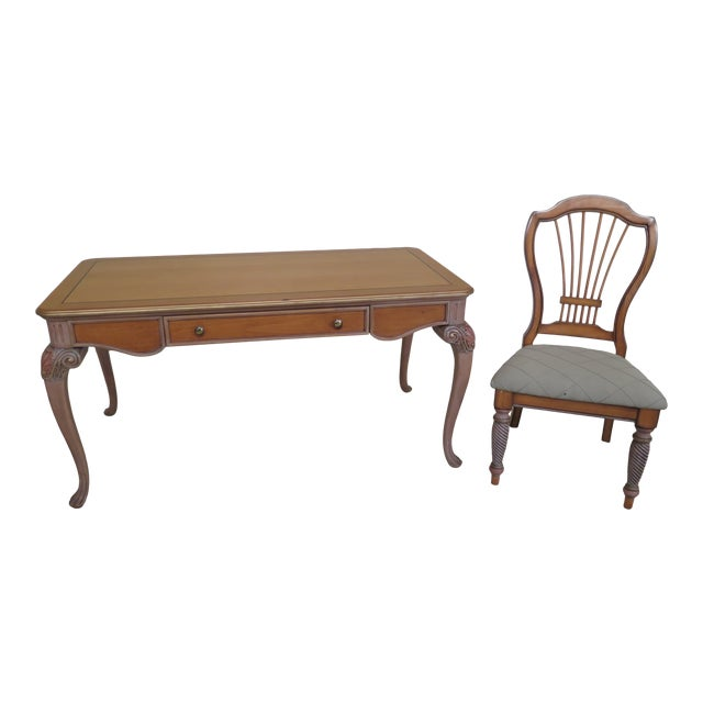 1990s Vintage Italian Style Paint Decorated Desk & Matching Chair For Sale