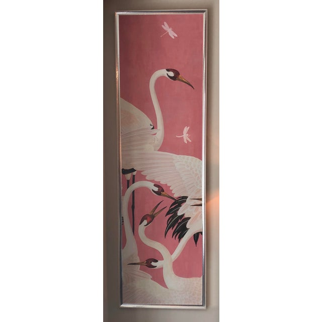 Custom framed Gucci wallpaper heron print mural made in Italy. Bleached wood frame is also made in Italy with stainless...