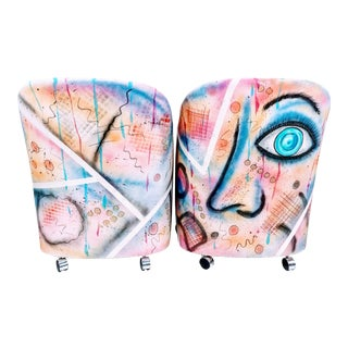 """Soft Eyes"" Painted Lounge Chairs - A Pair For Sale"