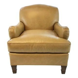 Transitional Pearson Gold Leather Club Chair For Sale