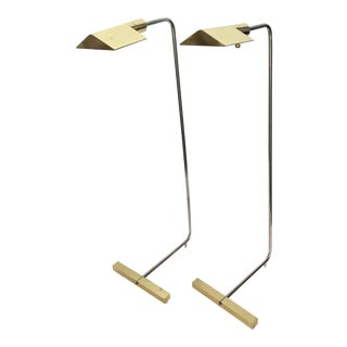Vintage Stamped Cedric Hartman Floor Lamps. A Pair For Sale