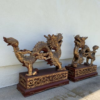 Antique Chinese Gilt & Red Lacquer Carved Wooden Dragons - A Pair Preview