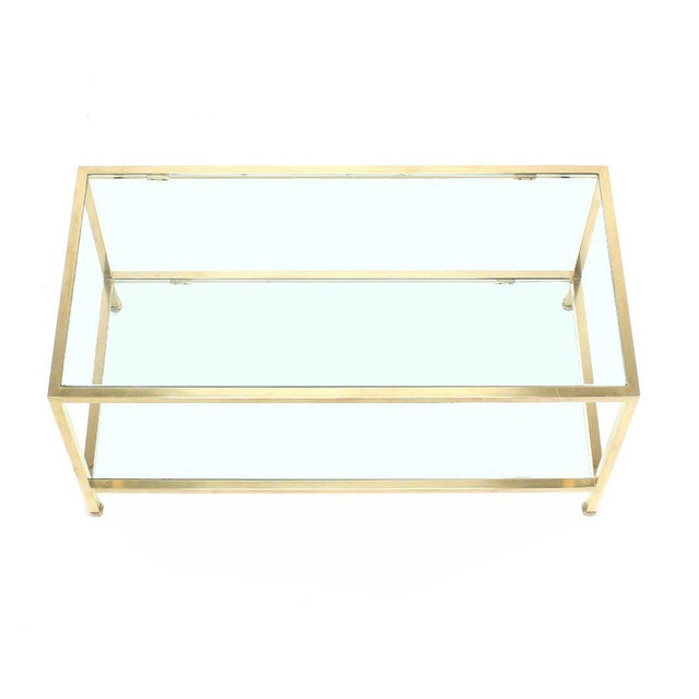 Very fine metal craftsmanship solid brass tube coffee table in style of Paul McCobb.