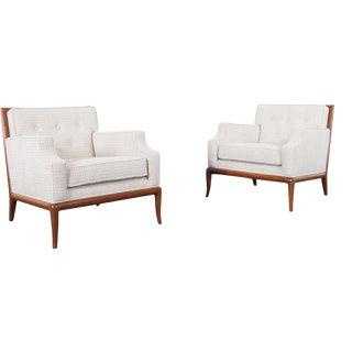 t.h. Robsjohn-Gibbings for Widdicomb Walnut Lounge Chairs For Sale
