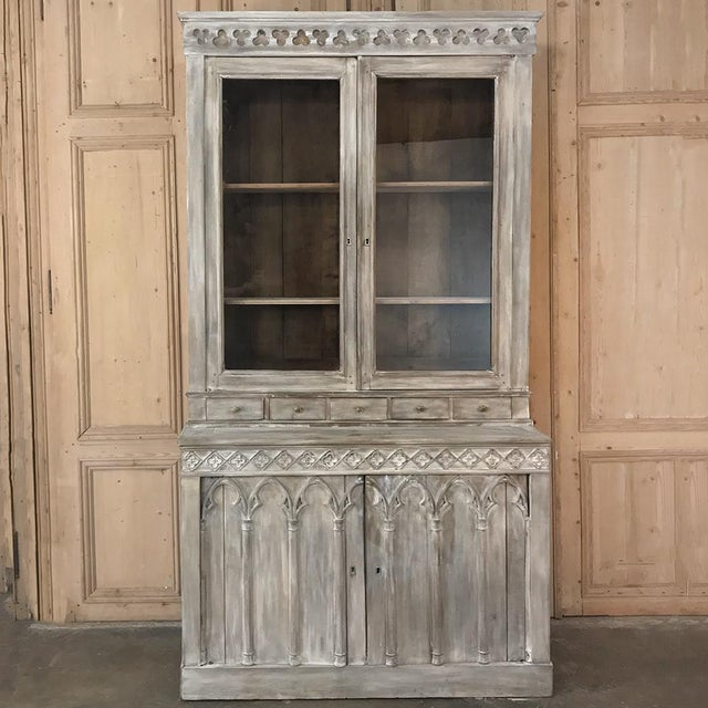 19th Century French Gothic Whitewashed Bookcase For Sale - Image 4 of 13