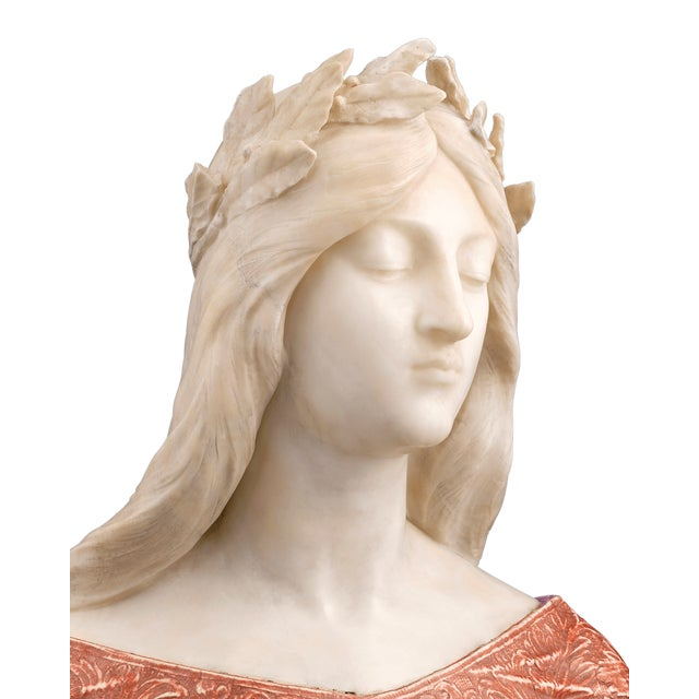 Alabaster and Onyx Bust by G. Gambrogi For Sale In New Orleans - Image 6 of 8