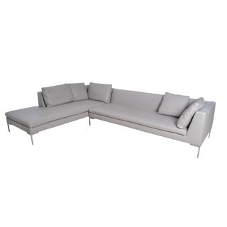 Original B & B Italia Leather Sectional Sofa