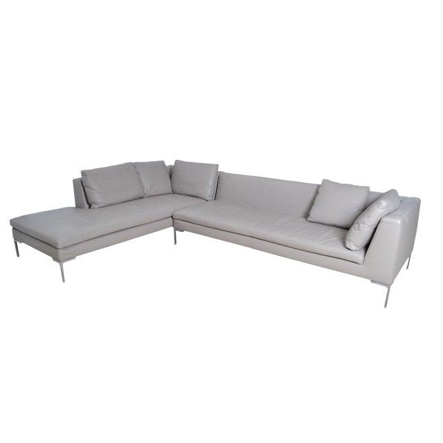 Original B & B Italia Leather Sectional Sofa For Sale