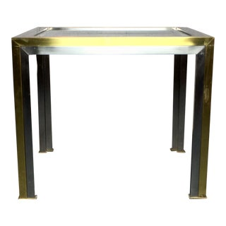 Modern Brushed Brass and Steel Side Table For Sale
