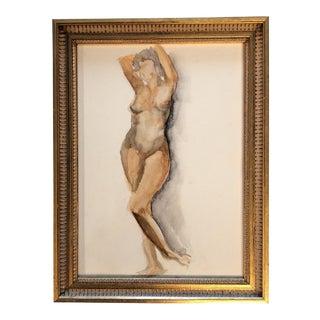 Original Vintage Female Nude Watercolor Painting
