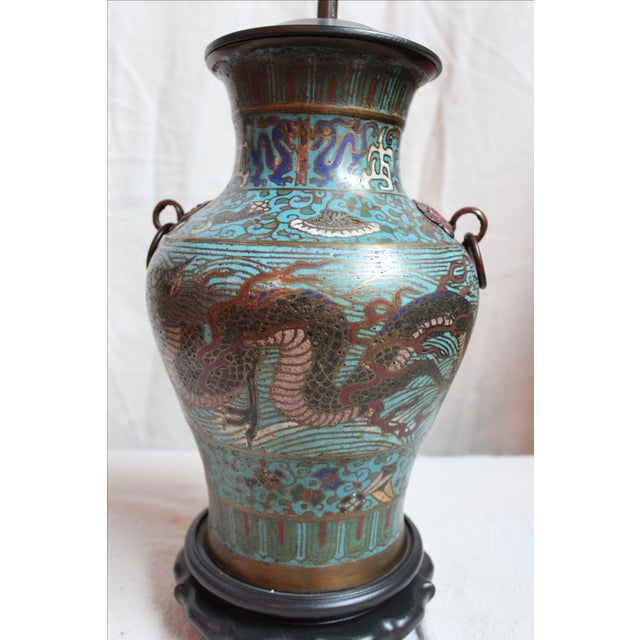 Asian Vintage Japanese Champleve Urn Lamp For Sale - Image 3 of 5