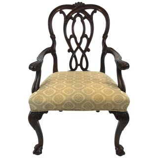 Superb Chippendale Style Mahogany Armchair by Karges For Sale