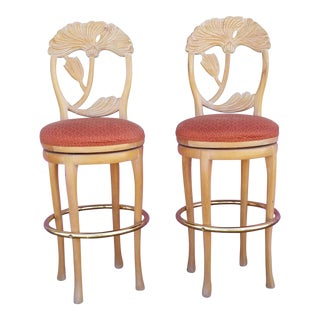 1970s Vintage Italian Floral Back Carved Wood Bar Stools- A Pair For Sale