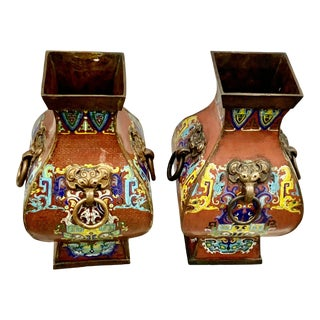 Antique Chinoiserie Enameled Copper Vases - a Pair For Sale