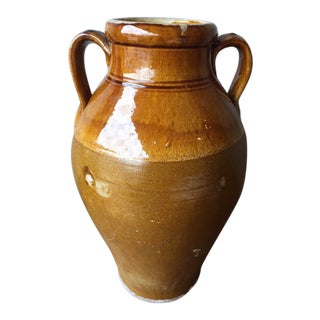 "Italian Glazed Antique Terracotta Jar- 16""h For Sale"