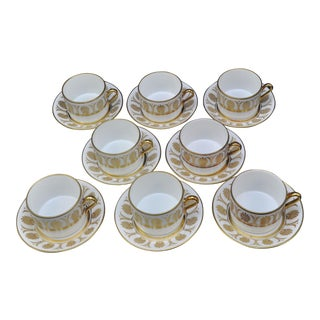 1960s Richard Ginori Gold Pompei Tea Cups and Saucers - Set of 8 For Sale