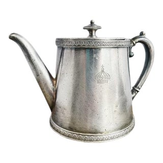 Antique Silver Plated Teapot From Hotel Imperial in Menton France For Sale