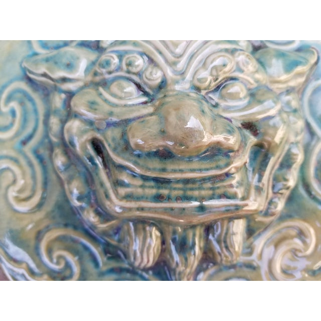Used to ward off evil spirits. This Chinese majolica wall plaque was salvaged from an old hutong raised for the Beijing...