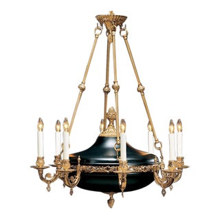 Solid Cast Brass Empire-Style Chandelier in French Gold Finish
