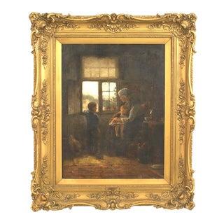 19th Century Dutch Oil Painting of Interior Window Scene For Sale