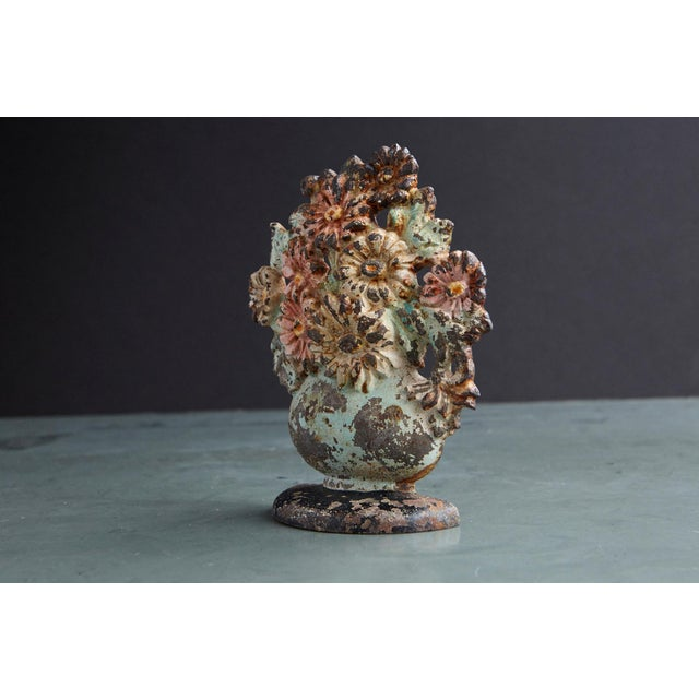 Rustic 19th Century Cast Iron Hand-Painted Polychrome Flower Bouquet in Vase Doorstop For Sale - Image 3 of 7