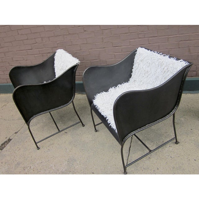 White Early 21st Century Vintage Gunmetal Gray Industrial Custom-Made Craftsman Brutalist Chairs- A Pair For Sale - Image 8 of 8