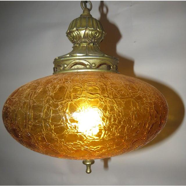 Vintage Italian Art Glass Rewired Retro Boho Gold Crakle Hanging Light For Sale - Image 9 of 9