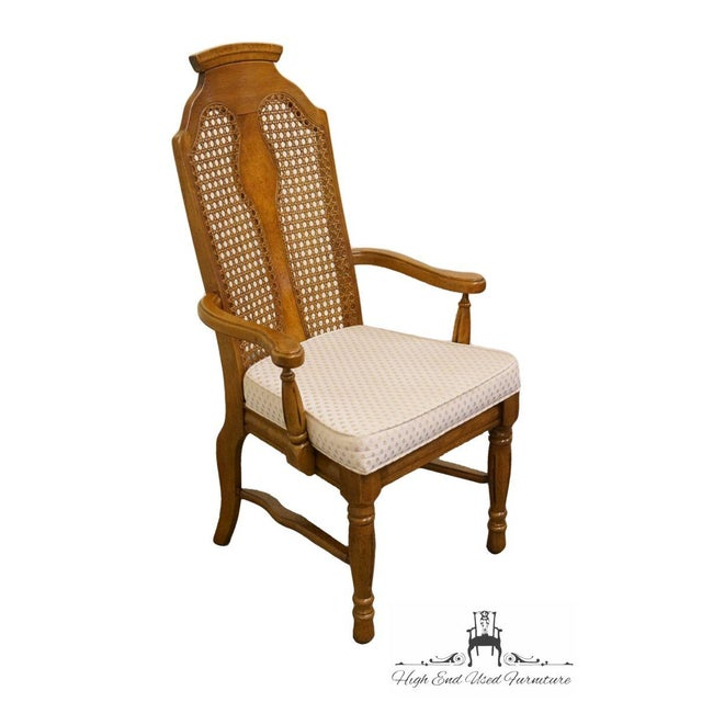 Wood Henry Link Dixie Contemporary Style Cane Back Dining Arm Chairs - a Pair For Sale - Image 7 of 13