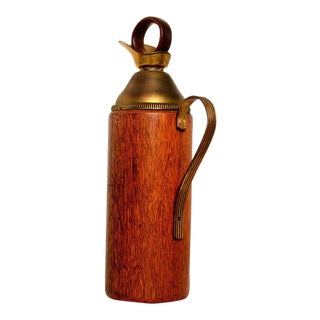 Aldo Tura Teak and Brass Pitcher For Sale
