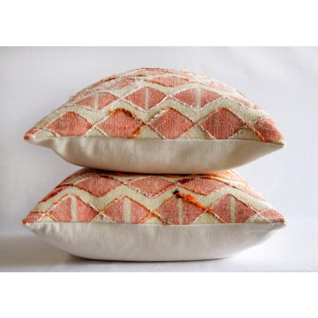 Contemporary Coral Color Diamond Silk Embroidery Pillow Cover For Sale In Los Angeles - Image 6 of 7