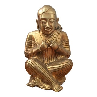 Large Brass Sitting Baby Buddha Statue