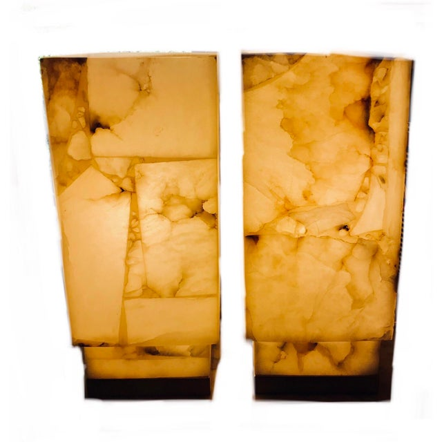 White Contemporary Alabaster Table Lamps - a Pair For Sale - Image 8 of 9