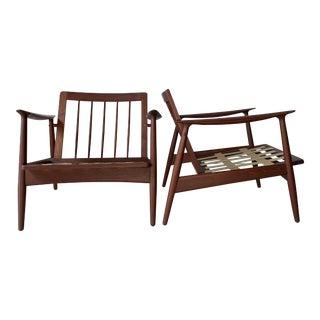 Vintage Mid Century Modern Danish John Bone Teak Lounge Chairs - a Pair For Sale