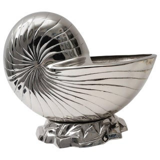 Large Nickel Plated Nautilus Cachepot For Sale