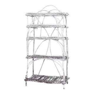 Rustic Adirondack White Painted Twig Design Étagère, 20th Century For Sale