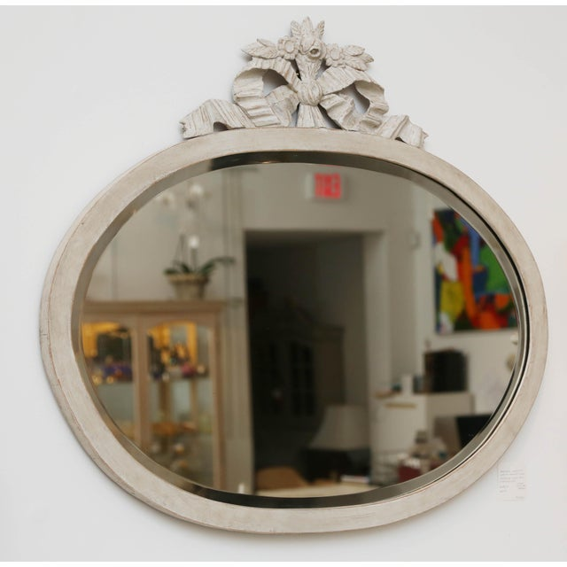 Gustavian (Swedish) Antique Swedish Gustavian Style Painted Oval Wall Mirror, Late 19th Century For Sale - Image 3 of 6
