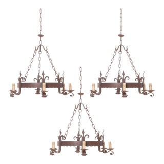 French 19th Century Iron Six-Light Chandeliers - Set of 3 For Sale