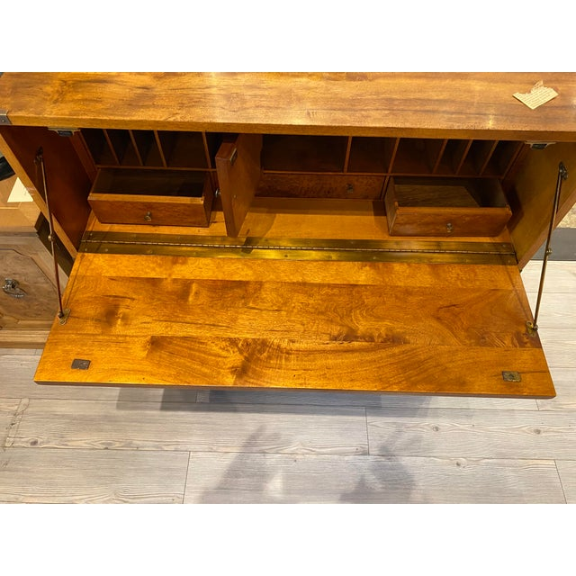 Mount Airy Furniture Company Campaign-Style Mid Century Modern Secretary Chest For Sale - Image 10 of 13