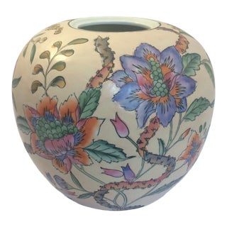 Macau Chinoiserie Floral Ginger Jar Vase For Sale