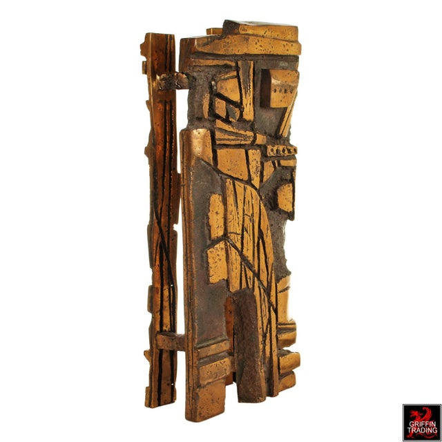 Gold Bronze Brutalist Abstract Sculpture For Sale - Image 8 of 13