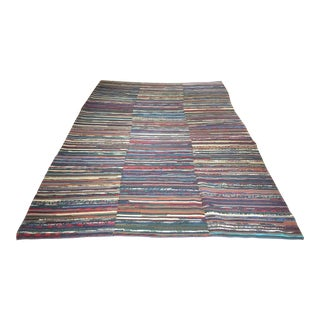 """Vintage Kilim Rug With Stripes and Modern Style 8' 5"""" X 12' 3"""" For Sale"""