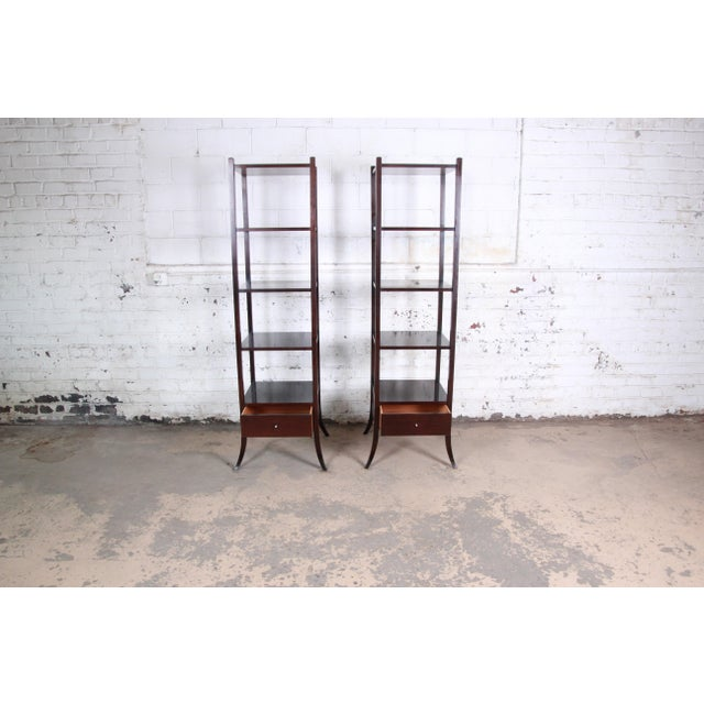 1990s Barbara Barry for Baker Furniture Dark Mahogany Étagères, Pair For Sale - Image 5 of 13