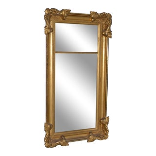 American 19th Century Carved & Gilded Full Length Mirror C.1890s For Sale